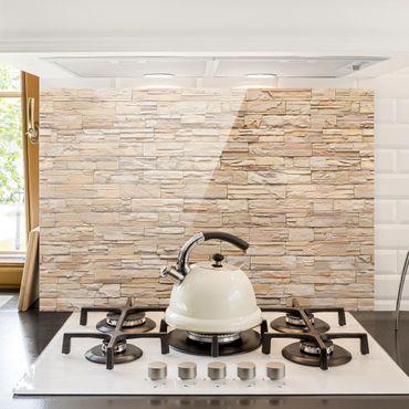 Spritzschutz Glas - Asian Stonewall - Große helle Steinmauer aus wohnlichen Steinen - Querformat - 3:2