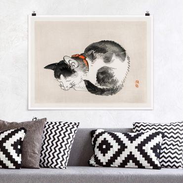 Poster - Asiatische Vintage Zeichnung Schlafende Katze - Querformat 3:4
