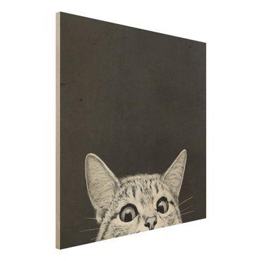 Holzbild - Illustration Katze Schwarz Weiß Zeichnung - Quadrat 1:1