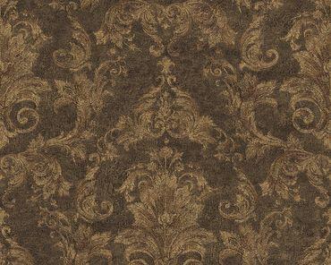 Versace wallpaper Strukturtapete Versace 2 Pompei in Braun, Metallic, Schwarz