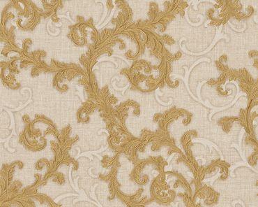 Versace wallpaper Strukturtapete Versace 2 Baroque & Roll in Beige, Creme, Metallic