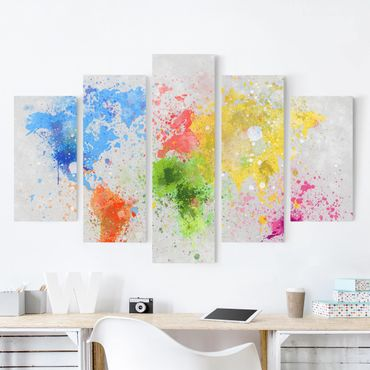 Leinwandbild 5-teilig - Bunte Farbspritzer Weltkarte
