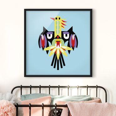 Bild mit Rahmen - Collage Ethno Monster - Flügel - Quadrat 1:1