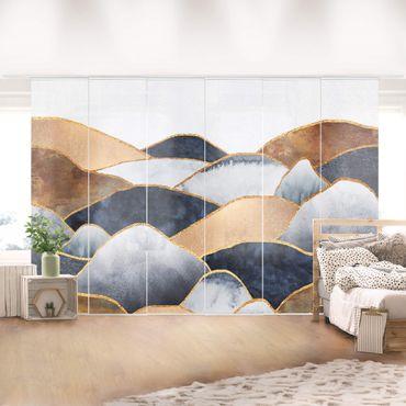 Schiebegardinen Set - Elisabeth Fredriksson - Goldene Berge Aquarell - 6 Flächenvorhänge