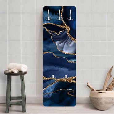 Garderobe - Goldene Glitzer Wellen vor Blau