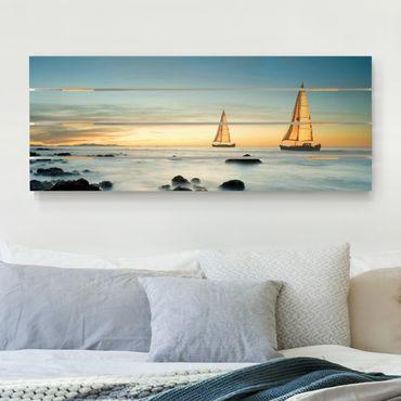 Holzbild - Segelschiffe im Ozean - Querformat 2:5