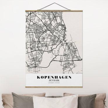 Stoffbild mit Posterleisten - Stadtplan Kopenhagen - Klassik - Hochformat 4:3
