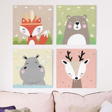 Leinwandbild 4-teilig - Fuchs Reh Nilpferd Bär