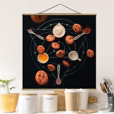 Stoffbild mit Posterleisten - Alchemie des Backens - Quadrat 1:1
