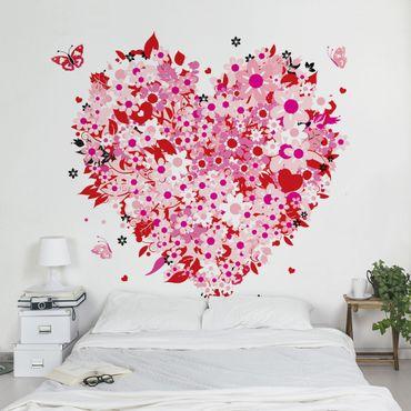 Fototapete Floral Retro Heart