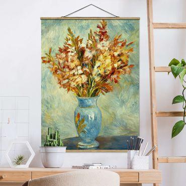 Stoffbild mit Posterleisten - Auguste Renoir - Gladiolen in Vase - Hochformat 3:4
