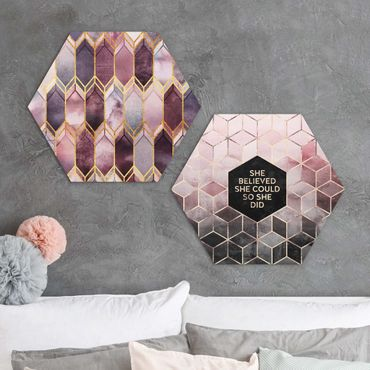 Hexagon Bild Alu-Dibond 2-teilig - Elisabeth Fredriksson - She Believed Art Deco Set Rosé Gold Set I
