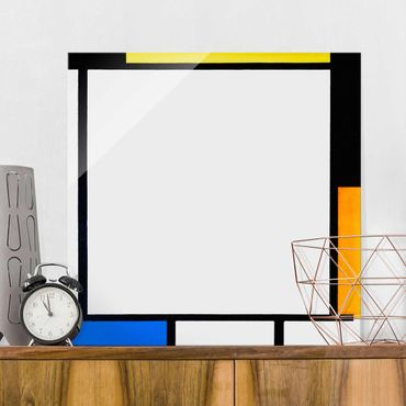 Glasbild - Piet Mondrian - Komposition II - Quadrat 1:1