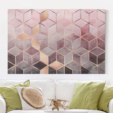 Leinwandbild - Rosa Grau goldene Geometrie - Querformat 2:3