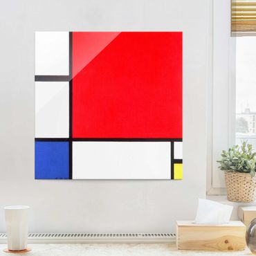 Glasbild - Piet Mondrian - Komposition Rot Blau Gelb - Quadrat 1:1