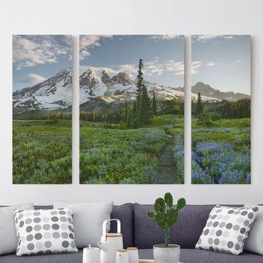 Leinwandbild 3-teilig - Bergblick Wiesenpfad - Triptychon