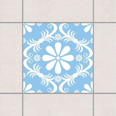 Fliesenaufkleber - Blumendesign Light Blue Blau