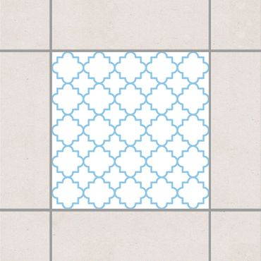 Fliesenaufkleber - Traditional Quatrefoil White Light Blue