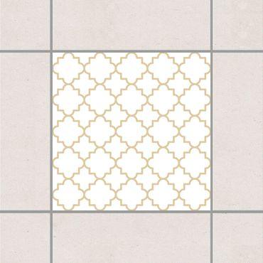 Fliesenaufkleber - Traditional Quatrefoil White Light Brown