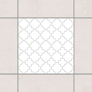 Fliesenaufkleber - Traditional Quatrefoil White Light Grey