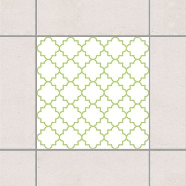 Fliesenaufkleber - Traditional Quatrefoil White Spring Green