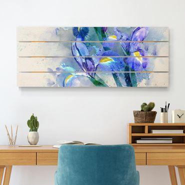 Holzbild - Aquarell Blumen Iris - Querformat 2:5