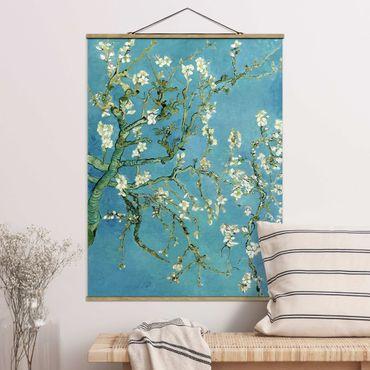 Stoffbild mit Posterleisten - Vincent van Gogh - Mandelblüte - Hochformat 4:3