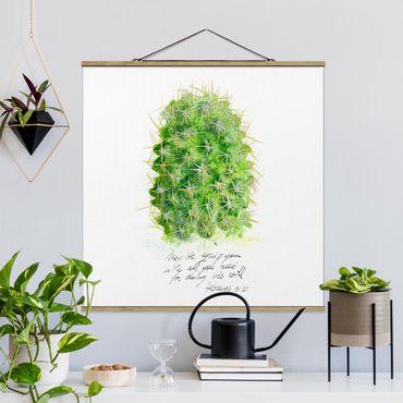 Stoffbild mit Posterleisten - Kaktus mit Bibelvers I - Quadrat 1:1