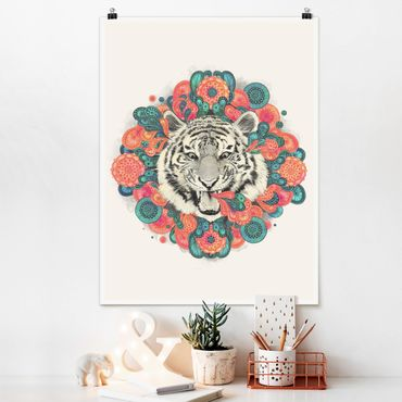 Poster - Illustration Tiger Zeichnung Mandala Paisley - Hochformat 4:3