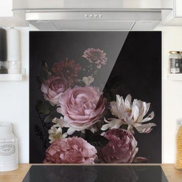 Spritzschutz Glas - Rosa Blumen auf Schwarz - Quadrat 1:1