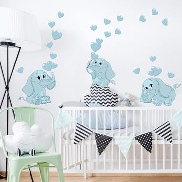 Wandtattoo - Drei blaue Elefantenbabies mit Herzen