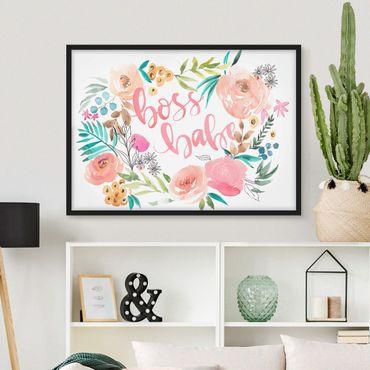 Bild mit Rahmen - Rosa Blüten - Boss Babe - Querformat 3:4