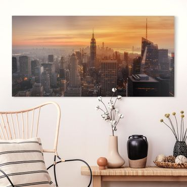 Leinwandbild - Manhattan Skyline Abendstimmung - Querformat 1:2