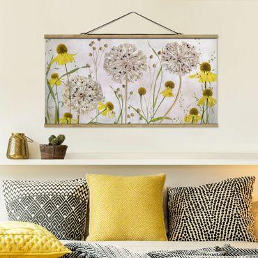 Stoffbild mit Posterleisten - Allium und Helenium Illustration - Querformat 2:1
