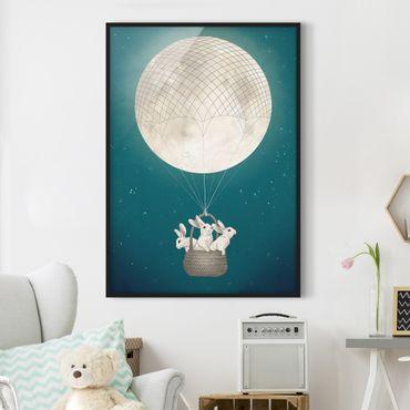 Bild mit Rahmen - Illustration Hasen Mond-Heißluftballon Sternenhimmel - Hochformat 4:3