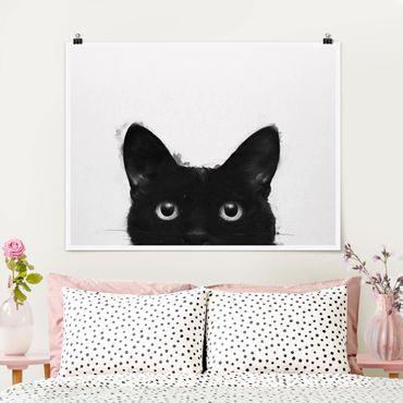 Poster - Illustration Schwarze Katze auf Weiß Malerei - Querformat 3:4