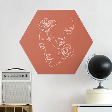 Hexagon Bild Forex - Line Art Gesichter Frauen Rosen Kupfer