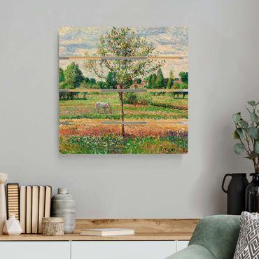 Holzbild - Camille Pissarro - Wiese mit Schimmel - Quadrat 1:1