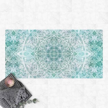Vinyl-Teppich - Mandala Aquarell Ornament Muster türkis - Querformat 2:1