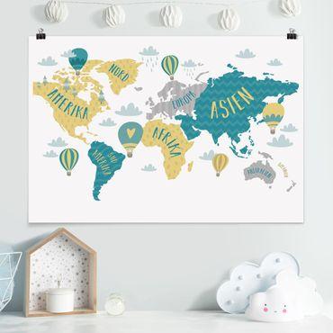 Poster - Weltkarte mit Heißluftballon - Querformat 2:3