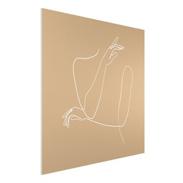 Forex Fine Art Print - Line Art Hände Frau Beige - Quadrat 1:1