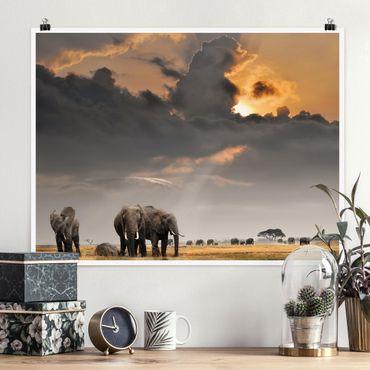 Poster - Elefanten der Savanne - Querformat 3:4