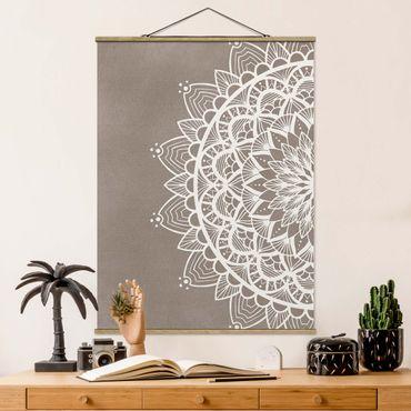 Stoffbild mit Posterleisten - Mandala Illustration shabby weiß beige - Hochformat 3:4