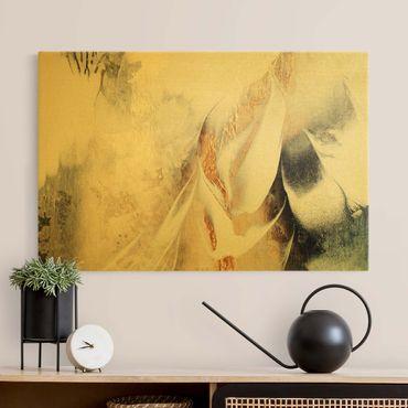 Leinwandbild Gold - Goldene abstrakte Wintermalerei - Querformat 3:2