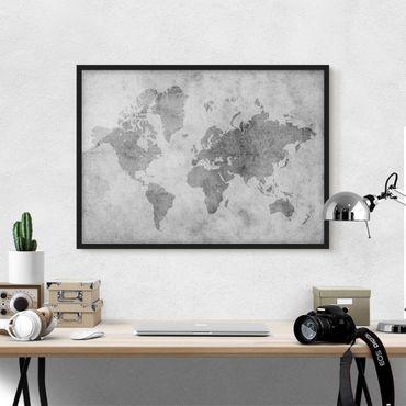 Bild mit Rahmen - Vintage Weltkarte II - Querformat 3:4