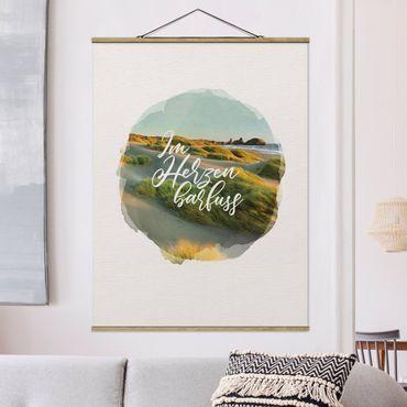 Stoffbild mit Posterleisten - Wasserfarben - Im Herzen barfuss - Hochformat 4:3