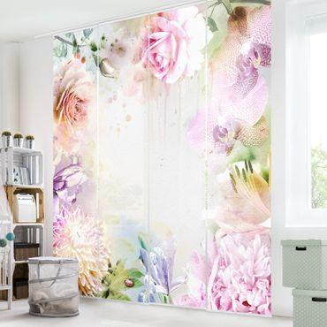 Schiebegardinen Set - Aquarell Blütenmix Pastell - Flächenvorhänge