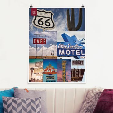 Poster - Route 66 - Collage Blaues Motel - Hochformat 3:4