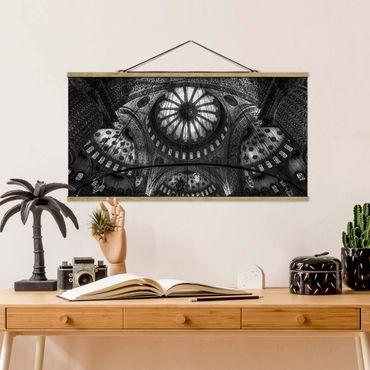 Stoffbild mit Posterleisten - Die Kuppeln der blauen Moschee - Querformat 2:1
