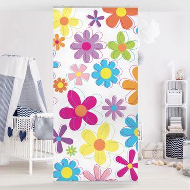 Raumteiler Kinderzimmer - Retro Blumen 250x120cm